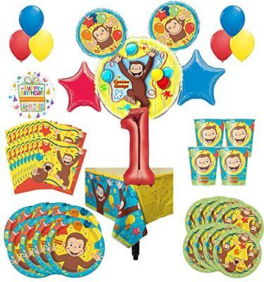 Curious George Party Supplies 8 Guest Kit 1st Birthday Balloon Bouquet Decoratio ()