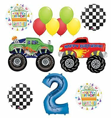 Monster Truck Party Supplies 2nd Birthday Balloon Bouquet Decorations - Monster Truck Party Supplies
