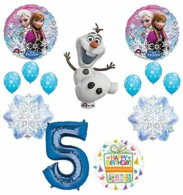 Frozen 5th Birthday Party Supplies Olaf, Elsa and Anna Balloon Bouquet  Blue #5 - Elsa And Anna Party Supplies