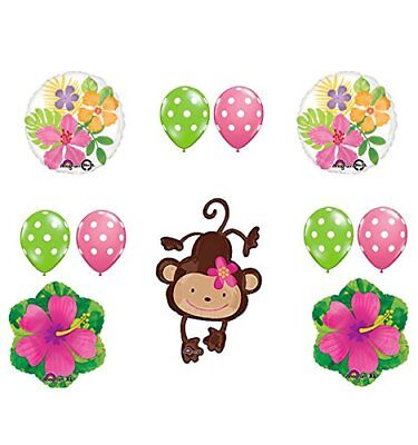 plies Birthday or Baby Shower Girl Monkey Love Hibiscus  (Monkey Party Supplies)
