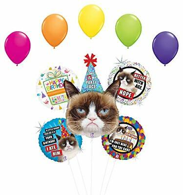 Grumpy Cat Party Face Birthday Party Supplies Balloon Bouquet - Cat Birthday Party