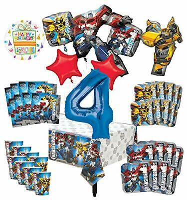 Transformers 4th Birthday Party Supplies 8 Guest Decoration Kit and Balloon - Transformer Birthday Party Supplies
