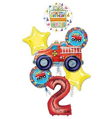 Fire Truck Fire Engine 2nd Birthday Party Supplies and Balloon Decorations - Fire Truck Birthday Supplies
