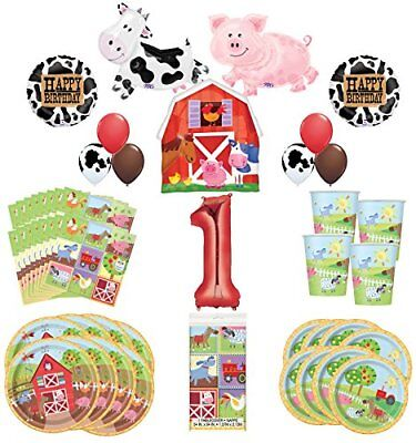 Farm Animal Party Supplies 8 Guests 1st Birthday Balloon Bouquet Decorations - Farm Animal Birthday Supplies
