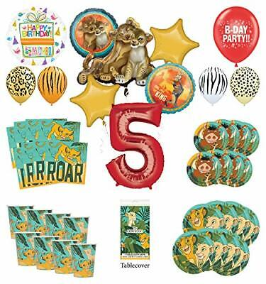 Lion King 5th Birthday Party Supplies 16 Guest Decoration Kit with Simba, -