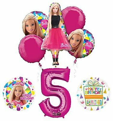Barbie 5th Birthday Party Supplies and Balloon Bouquet Decorations - Barbie Birthday Supplies