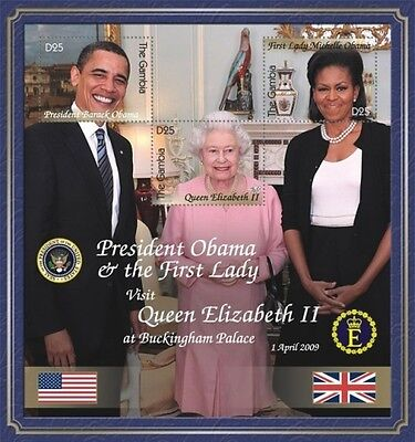 Gambia- Pres. Barack Obama meets Queen Elizabeth II, souvenir Sheet scott #3208
