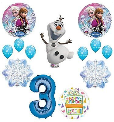 Frozen 3rd Birthday Party Supplies Olaf, Elsa and Anna Balloon Bouquet  Blue #3 - Elsa And Anna Party Supplies