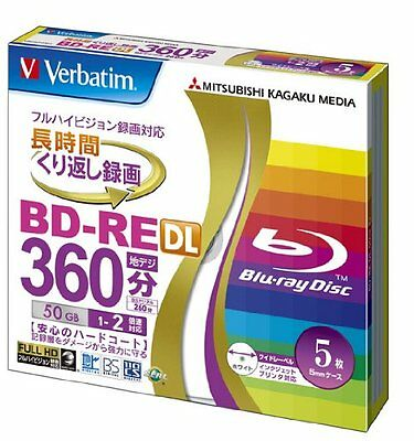 Verbatim Mitsubishi 50GB 2x Speed BD-RE Blu-ray Re-Writable Disk 5 Pack