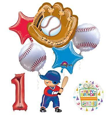 Baseball Player 1st Birthday Party Supplies Balloon Bouquet Decorations](Baseball Birthday Supplies)