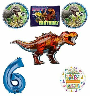 Jurassic World Dinosaur 6th Birthday Party Supplies and Balloon Decorations (Dinosaur Birthday Party Supplies)