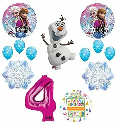 Frozen 4th Birthday Party Supplies Olaf, Elsa and Anna Balloon Bouquet  Pink #4 - Elsa And Anna Party Supplies