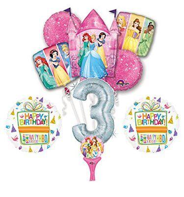 New! 9pc Disney Princess 3rd BIRTHDAY PARTY Balloons Decorations Supplies - Disney Princess Birthday Balloons