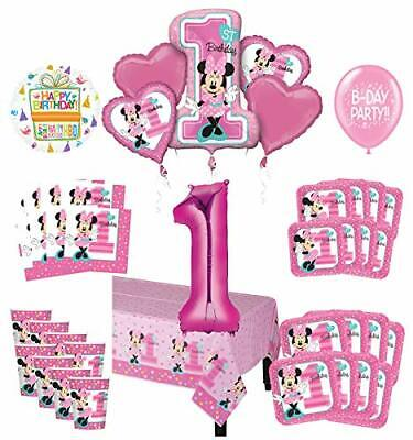 Minnie Mouse 1st Birthday Party Decorations (Mayflower Products Minnie Mouse 1st Birthday Party Supplies 8 Guest Decoration)