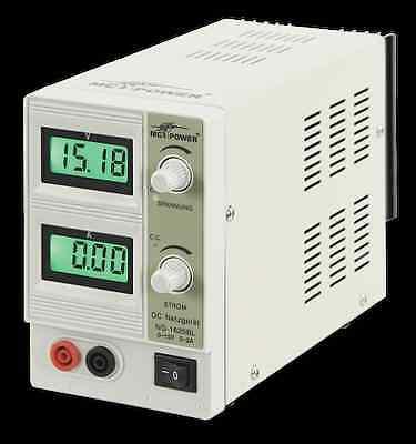 Labor-Netzgerät McPower NG-1620BL regelbar 0-15V, 2A Überlastungsschutz, 154260