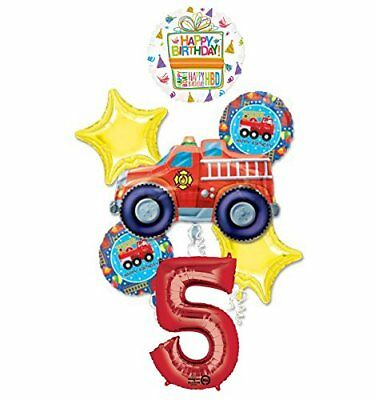 Fire Truck Fire Engine 5th Birthday Party Supplies and Balloon Decorations - Fire Truck Birthday Supplies