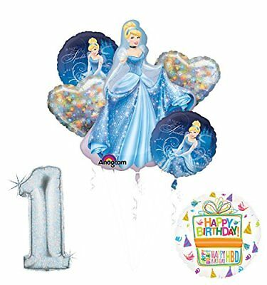 Cinderella 1st birthday party supplies and princess balloon decorations (Princess 1st Birthday Party)