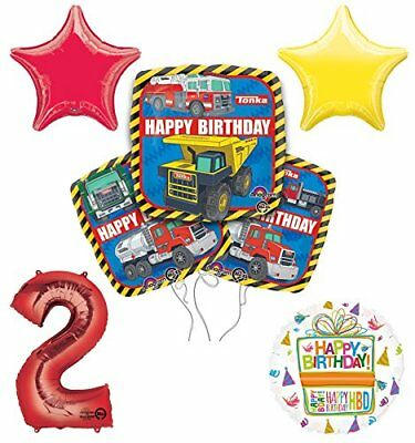 Tonka Truck 2nd Birthday Party Supplies and Balloon Decoration Bouquet Kit - Tonka Truck Party Supplies