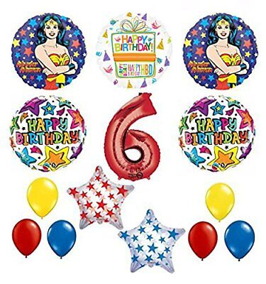 Wonder Woman 14 pc Superhero 6th Birthday Party Supplies and Balloon Decorations - Wonder Woman Party Decorations