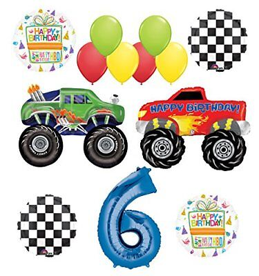 Monster Truck Party Supplies 6th Birthday Balloon Bouquet Decorations - Party Truck