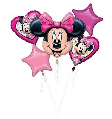 Disney Minnie Mouse Themed 5pc Happy Birthday Supershape Foil Balloon Bouquet
