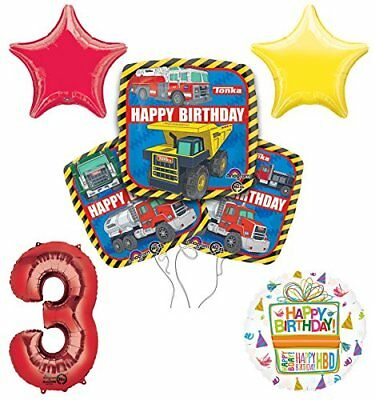 Tonka Truck 3rd Birthday Party Supplies and Balloon Decoration Bouquet Kit - Tonka Truck Party Supplies