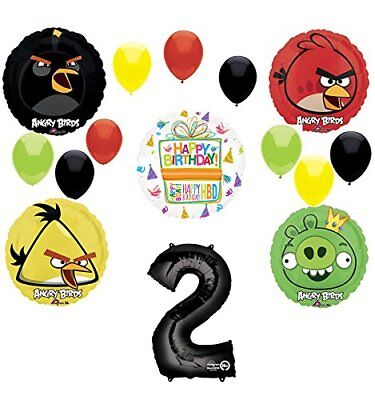 Angry Birds Party Supplies 2nd Birthday Balloon Bouquet Decorations