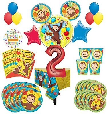 Supplies 8 Guest Kit 2nd Birthday Balloon Bouquet Decoratio (George Party Supplies)
