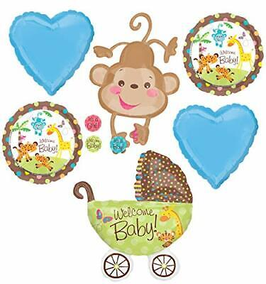 Jungle Safari Welcome Baby y Shower Party Supplies Buggy and Monkey Balloon - Welcome Balloon