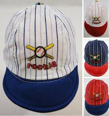 Infant Pinstripe Baseball Hat ROOKIE Baby Ball Cap Multiple Colors New! - Infant Ball Caps