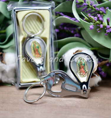 12 Nail Clippers Keychains Bautizo Llaveros Guadalupe Cortauñas Bottle Opener