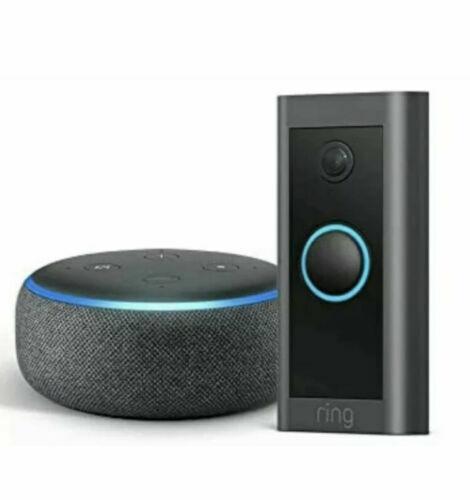 Ring Video Doorbell 2021 1st Gen and Echo Dot with Alexa 3rd Gen Charcoal NEW