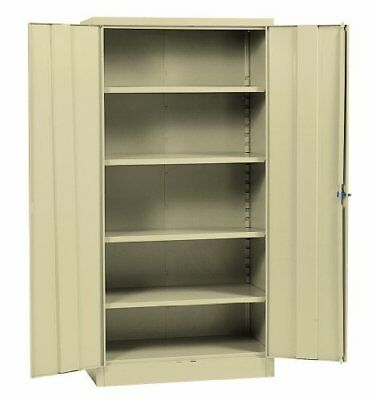 Metal Storage Cabinet Steel Locking With Doors Lock Garage Shop 72 Tall Putty