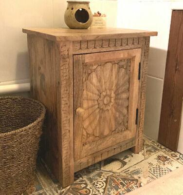 Rustic Bedside Cabinet Solid Wood Vintage Side Table Stand Bedroom Furniture