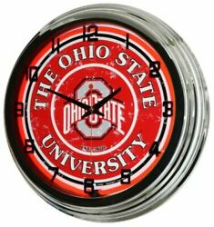 Retro Nostalgic 17 Red Neon Ohio State University Sign Buckeyes OSU Wall Clock