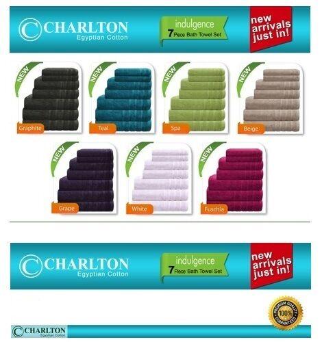 HAND //FACE TOWELS 1x MAT BLUE 7 PCE 575GSM EGYPTIAN COTTON TOWEL SET 2x BATH