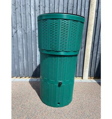 150L Rattan Wicker Effect Polybutt Water Butt - Green
