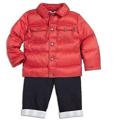 NWT NEW Burberry Infant Baby Boy Girl Quilted Down Puffer Jacket 12M Red