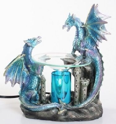 Blue Double Dragon Burner Wax Tart Oil Candle Warmer Electric Polyresin