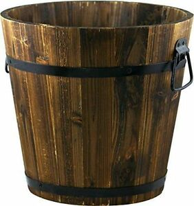 Pennington 100512045 Wood Bucket 12in Dark Flame Planter Outdoor