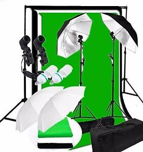 Photo Studio Video Continuous Umbrella Lighting Kit Backdrop Background Éclairage Lumière Parapluie Support Fond Écran