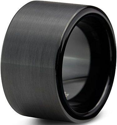 12mm Men's Tungsten Carbide Black Flat Matte Brushed Pipe Cut Wedding Band Ring  Cut Tungsten Wedding Ring