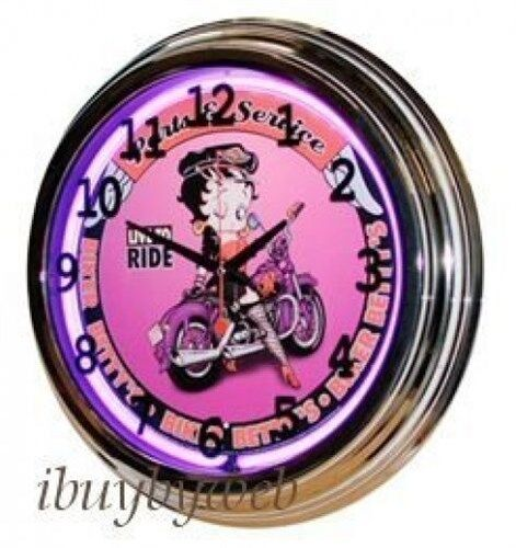 Retro 17 034 purple neon betty boop biker sign wall clock for Betty boop neon wall clock