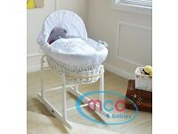 MCC Full Set Deluxe Palm Wicker Moses Basket With Dressing & Rocking Stands