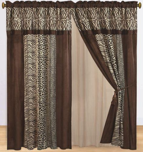 Animal print curtains ebay for Animal print window treatments
