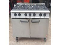 CAFE FALCON DOMINATOR NATURAL GAS COOKER 6 RING With OVEN,COOKER ON WHEELS 6 BURNER