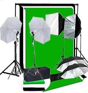 Photo Studio Video Umbrella Softbox Light Lighting Kit Backdrop Ensemble Éclairage Lumière Parapluie Support Fond 2317