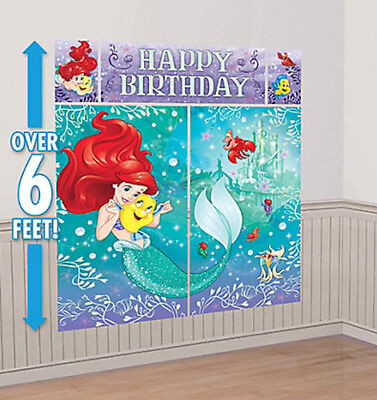 ARIEL LITTLE MERMAID Scene Setter HAPPY BIRTHDAY party wall decor kit over 6'](Little Mermaid Decoration)