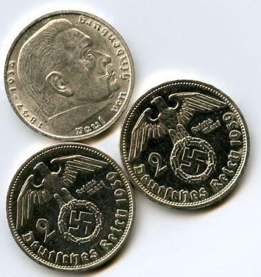 NAZI GERMANY THIRD REICH - 2 REICHSMARK SILVER BULLION COIN WWII WW2 2RM MARK