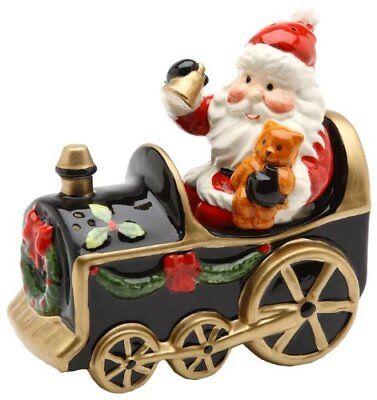 Brand New Christmas Santa Holding Bear Doll in Train Salt and Pepper Set
